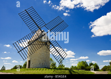 Traditional old French Windmill in the Lot region, Southern France, Europe - Stock Photo