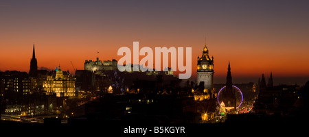 Edinburgh at Dusk from Calton Hill - Stock Photo
