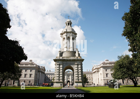 The Campanile at Parliament Square in Trinity College Dublin in Dublin 2, Ireland - Stock Photo