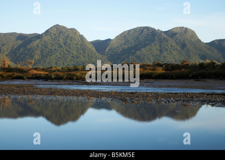 Aorere River Mouth Ruataniwha Inlet and Burnett Range Collingwood Golden Bay Nelson Region South Island New Zealand - Stock Photo
