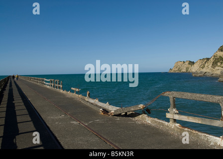Tolaga Bay wharf - 660 meters long  or 2165 ft -  in New-Zealand. - Stock Photo
