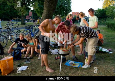 Barbeque Lake Aasee Muenster Muensterland North Rhine Westphalia Germany - Stock Photo