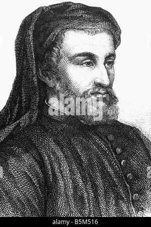 Chaucer, Geoffrey, circa 1340 - 25.10.1400, English auhtor / writer,  portrait, wood engraving, 19th century, , - Stock Photo