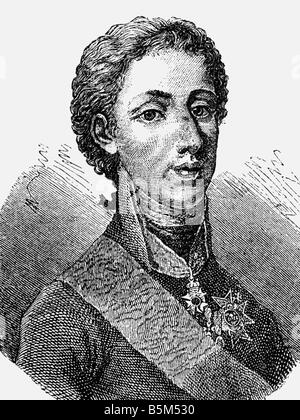 Gustav IV Adolf, 1.11.1778 - 7.2.1837, King of Sweden 29.3.1792 - 29.3.1809, portrait, wood engraving, 19th century, - Stock Photo