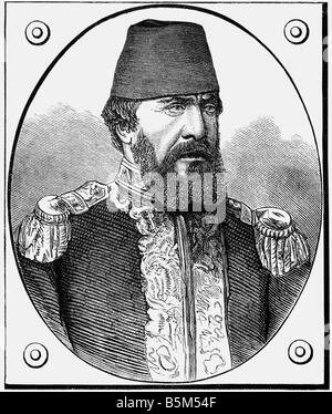 Hobart, Augustus Charles, 1.4.1822 - 19.6.1886, British naval officer, portrait, as Ottoman admiral, wood engraving, - Stock Photo