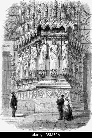 geography / travel, France, Reims, Cathedral Notre Dame, exterior view, detail, portal, wood engraving, 19th century, - Stock Photo