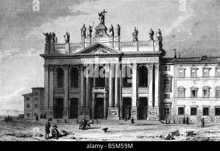 geography / travel, Italy, Rome, Lateran Basilica, exterior view, wood engraving, 19th century, San Giovanni in - Stock Photo