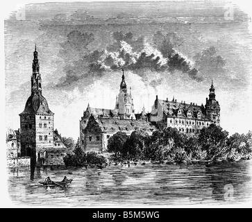 architecture, castles, Denmark, Frederiksborg Palace, exterior view in the 17th century, wood engraving, 19th century, - Stock Photo