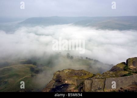 landscape from back tor looking over the edale valley towards kinder in the english peak district national park - Stock Photo