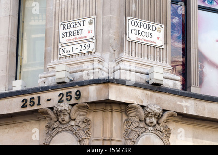 Street signs at corner of Regent Street and Oxford Circus, London England UK - Stock Photo