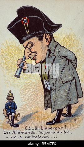 1 W46 G1915 10 E Wilhelm II and Napoleon I Caricature Wilhelm II German emperor 1888 1918 1859 1941 Ca Un Empereur - Stock Photo