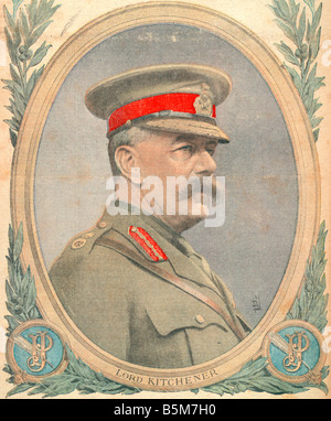 1EN 259 C1916 E Lord Kitchener From Petit Journal Kitchener Herbert Earl K of Khartoum Brit military since 1909 - Stock Photo