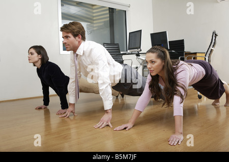 Yoga session at business meeting - Stock Photo