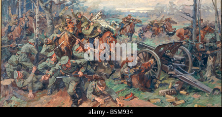 2 G55 O1 1915 27 WWI Attack of the Russian cavalry History WWI Estern Front Russian cavalry attacking German gun - Stock Photo