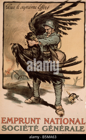 2 G55 P1 1918 16 1 WW I National Loan Fr Poster 1918 History World War I Propaganda Pour le supreme Effort Emprunt - Stock Photo