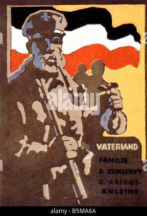 2 G55 P1 1918 3 E German war loan poster World War I History World War I Propaganda Fatherland Family Future 8 War - Stock Photo