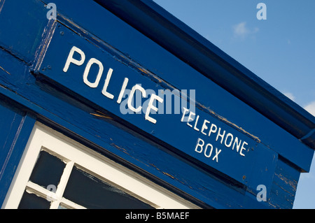 Old police telephone box Scarborough North Yorkshire England UK United Kingdom GB Great Britain - Stock Photo
