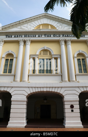 Facade of the Arts House at the Old Parliament House which was built in 1827 in Neo-Palladian style, Colonial District, - Stock Photo