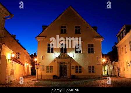 Narrow cobbled street in the Old Town of Tallinn, Estonia - Stock Photo