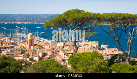 A view over the roofs of Saint-Tropez / Cote d'Azur / Provence / Southern France - Stock Photo