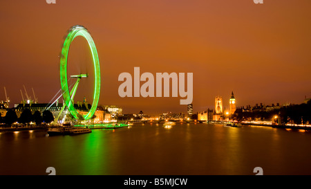 London Skyline at Night showing Big Ben and Westminster. - Stock Photo