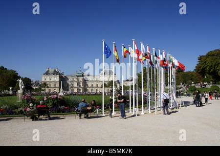 Flags of the European nations flying in front of the Palais du Luxembourg, home of the French senate, Paris - Stock Photo