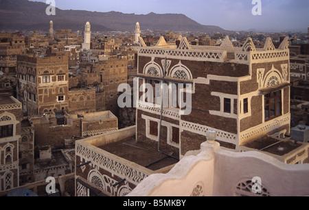 Evening View of Sana'a in Yemen - Stock Photo