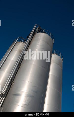Grain Silos against a deep blue sky, Northern England - Stock Photo