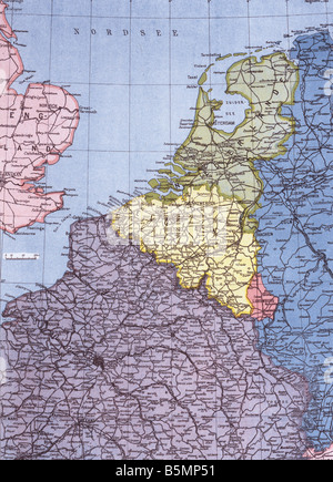 Map of Western frontline 1915 First World War Western Front Map of Western war zone Netherlands Belgium North of - Stock Photo