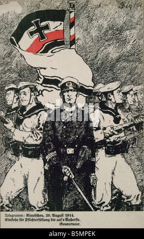 9 1914 8 20 E1 World War I Kiautschou Postcard First World War 1914 18 War in the Colonies Japanese ultimatum to - Stock Photo