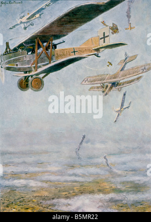 9 1917 0 0 A6 World War I Air Battle First World War 1914 18 Air battle Deutsche Infanterieflieger 1917 an der Somme - Stock Photo