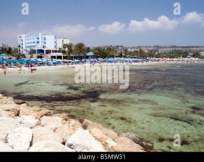 View of the beach hotel in Agia Napa Cyprus - Stock Photo