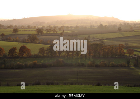 View towards Brailes Hill from Windmill Hill, Tysoe, Warwickshire, England, UK - Stock Photo