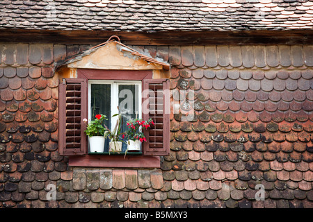 traditional romanian roof and window in the medieval town Sighisoara, romania - Stock Photo
