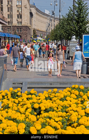 People walking along the main Khreshchatyk Street, Kiev, Ukraine - Stock Photo