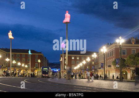 France French Reviera Nice Place Massena new tram sculptures at twilight - Stock Photo