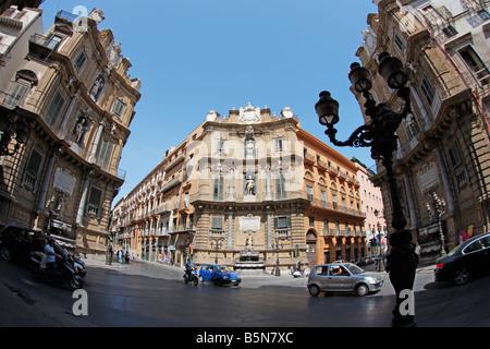 Quattro Canti, Palermo, Sicily - Stock Photo