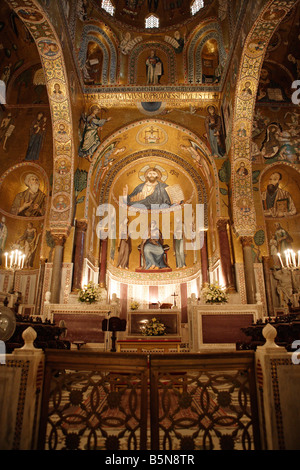 Capella Palatina Central Apse, Palermo, Sicily - Stock Photo