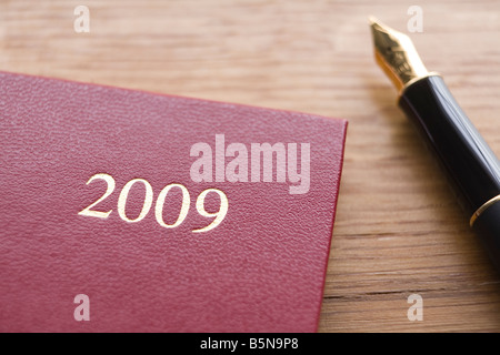 Red Leather 2009 Diary And Fountain Pen On Wooden Counter - Stock Photo