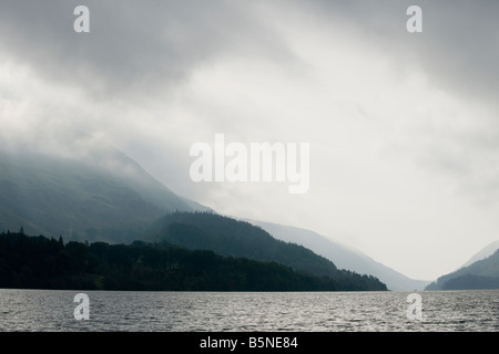 Looking south towards Hause Point and Wythburn from the shores of Thirlmere. - Stock Photo