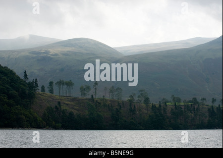 Looking due east towards High Fells and Stybarrow Dodd from the shores of Thirlmere; view #2. - Stock Photo