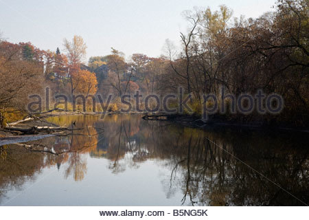 Fall morning on the Rouge River in Rouge Park an urban wilderness in Toronto Ontario Canada - Stock Photo