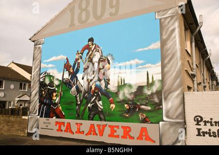 Loyalist/Unionist mural, '1809, The Battle of Talavera' - Stock Photo