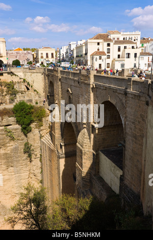Ronda Malaga Province Spain View of the Puente Nuevo or New Bridge over the Tajo gorge - Stock Photo