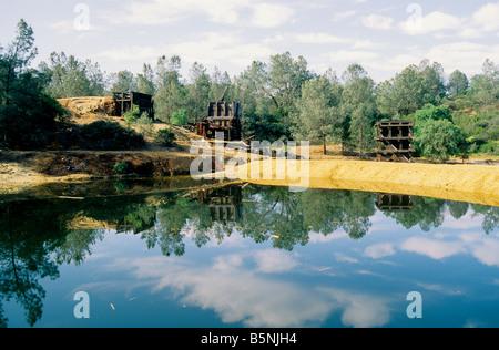 Abandoned copper mine, waste settling pond. - Stock Photo