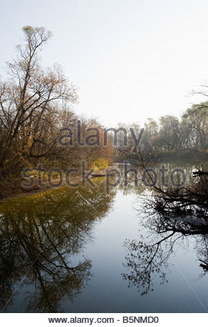 Misty fall morning on the Rouge River in Rouge Park an urban wilderness in Toronto Ontario Canada - Stock Photo