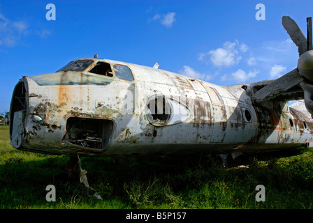 Abandoned plane, Pearls Airport, Grenada, 'West Indies' - Stock Photo