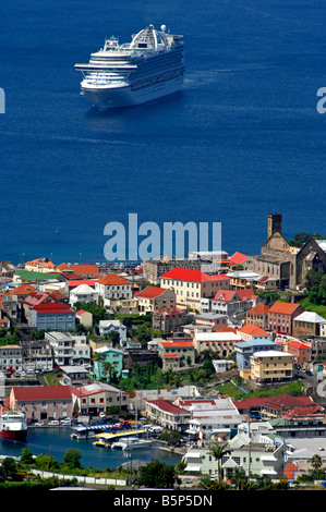 'Emerald Princess' 'cruise ship' in dock at St George's Grenada in the 'West Indies' - Stock Photo