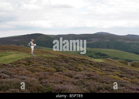 Female walker consulting a map on Offas Dyke path near Mold Flintshire Wales - Stock Photo