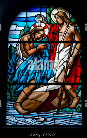 Stained glass window in church in Spain - Stock Photo